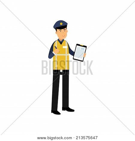 Cartoon traffic policeman standing and holding clipboard with form for police report. Dressed in safety reflective jacket, blue shirt and cap. Employee of police department. Flat vector illustration.