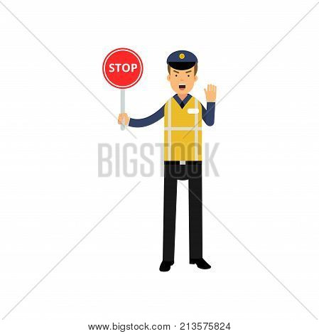 Traffic control policeman showing stop road sign and ordering to stop with other hand. Cartoon officer character in uniform with high visibility vest. Public service. Isolated flat vector illustration