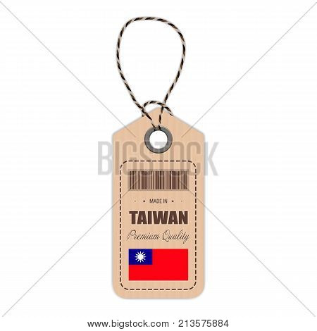 Hang Tag Made In Taiwan With Flag Icon Isolated On A White Background. Vector Illustration. Made In Badge. Business Concept. Buy products made in Taiwan. Use For Brochures, Printed Materials, Logos, Independence Day