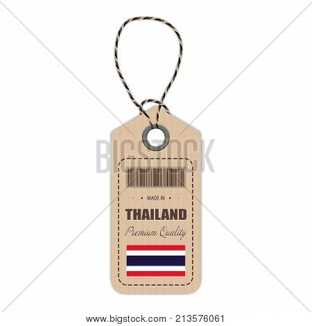 Hang Tag Made In Thailand With Flag Icon Isolated On A White Background. Vector Illustration. Made In Badge. Business Concept. Buy products made in Thailand. Use For Brochures, Printed Materials, Logos, Independence Day