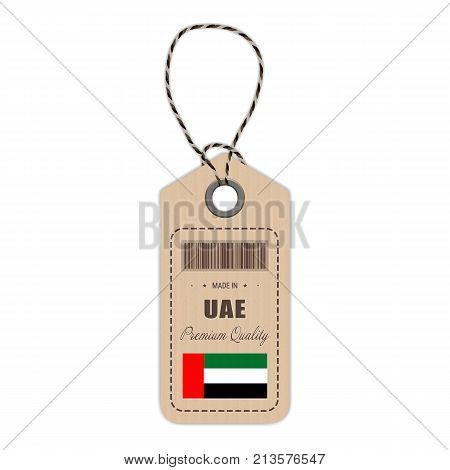 Hang Tag Made In United Arab Emirates With Flag Icon Isolated On A White Background. Vector Illustration. Made In Badge. Business Concept. Buy products made in United Arab Emirates. Use For Brochures, Printed Materials, Logos, Independence Day