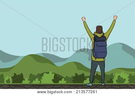A young happy man, back view of backpacker with raised hands in a hilly area. Hiker, Explorer. A symbol of success. Vector Illustration with copy space.