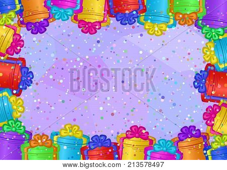 Holiday Background with Gift Color Fancy Boxes on Violet with Confetti. Eps10, Contains Transparencies. Vector