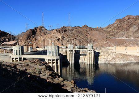 Hoover Dam and Colorado river near Las Vegas, Nevada.