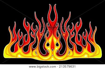 Vehicle Graphics, Stripe : Hot Rod Racing Flame, Graffiti car decal, Vinyl Ready on the hood of a car, Graphic design vector illustration.