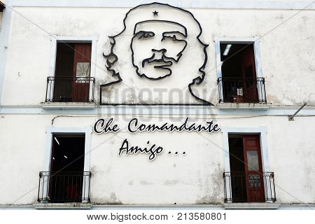 CAMAGUEY CUBA - 15 NOVEMBER 2016: Wall decoration of Ernesto Che Guevara in Camaguey city Cuba.