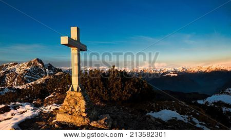 Mountain Panorama From The Summit Where A Cross Is Placed