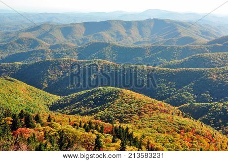Appalachian Mountains fall landscape at Devil's Courthouse Overlook on the Blue Ridge Parkway in NC