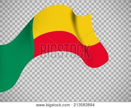 Benin flag icon on transparent background. Vector illustration