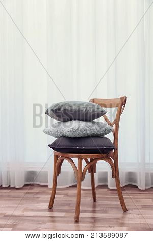 Chair with pillows indoors