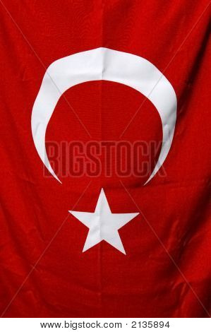 Turkish Red Flag With White Star And Moon
