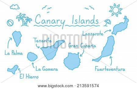 Canary islands map hand drawing doodle outline blue isolated travelling concept vector