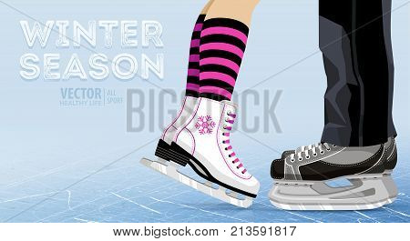 Woman and man ice skating. Winter outdoors on ice rink. legs. Ice hockey skates. Figure skating. Texture of ice surface. Skating together. Vector illustration