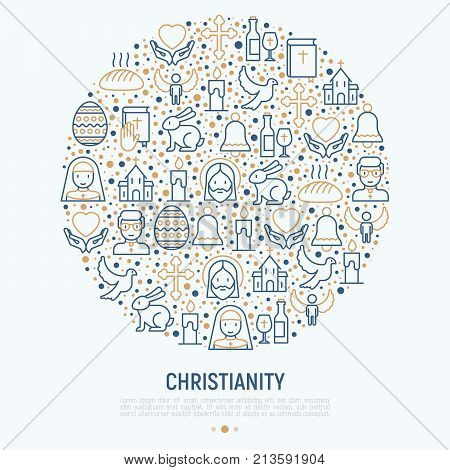 Christianity concept in circle with thin line icons of priest, church, nun, crucifixion, Jesus, bible, dove. Vector illustration for banner, web page, print media.
