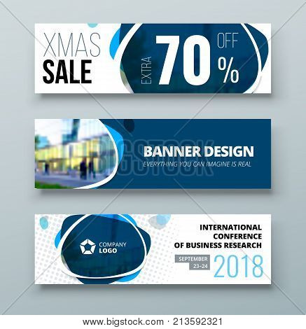 Banner template design. Presentation concept. Blue Corporate business banner template background. Horizontal banner stand or flag design layout. For conference, forum, shop, web site.
