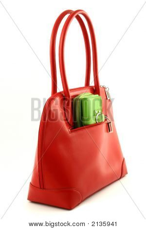 Red Bag With Green Wallet