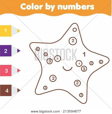 Children educational game. Coloring page with cute starfish. Color by numbers, printable activity, worksheet for toddlers and pre school age. Animals theme