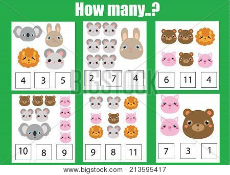 Counting educational children game, math kids activity sheet. How many objects task. Learning mathematics, numbers, addition theme