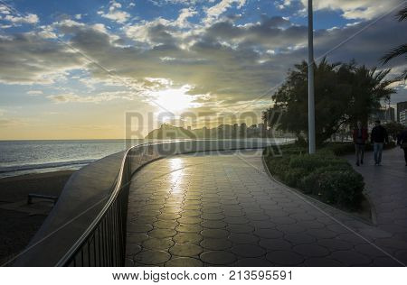 BENIDORM, SPAIN, 11TH JANUARY 2017 - Poniente beach at sunset Benidorm Alicante Spain