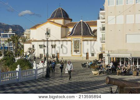 BENIDORM, SPAIN, 11TH JANUARY 2017 - Santa Ana Plaza and church of San Jaime and Santa Ana Benidorm Alicante Spain