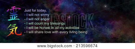 The Reiki Precepts and Kanji Symbol on wide Universe background - dark night sky with a rainbow colored Reiki Kanji symbol beside the Reiki Precepts and copy space