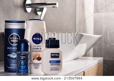 POZNAN POLAND - NOV 10 2017: Nivea products German personal care brand that specializes in skin- and body-care products. It is owned by Beiersdorf Global AG headquartered in Hamburg.