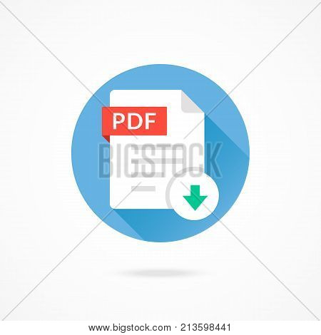 Download PDF icon. Download document. Vector round icon with long shadow design