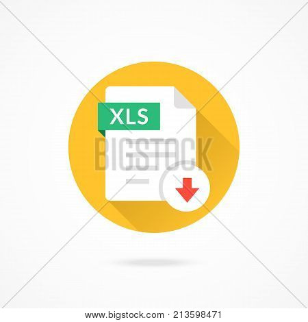 Download XLS icon. Download document. Vector round icon with long shadow design