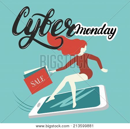 Lettering cyber Monday girl on smartphone in a hurry to shop  Lettering cyber Monday: round pixels and mouse  Lettering cyber Monday: smartphone with sale arrow