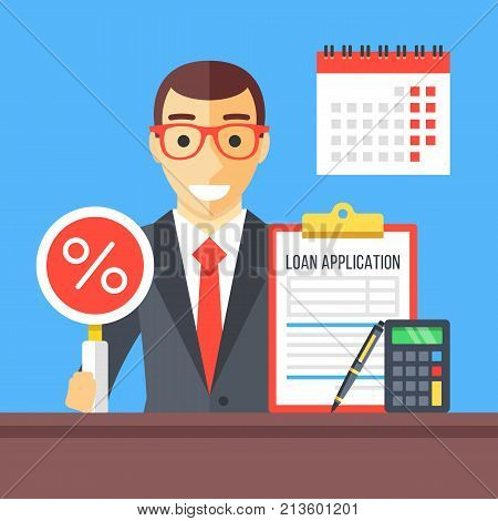 Loan application interview. Man in suit with magnifying glass and percentage sign, loan application document clipboard, calculator, pen and wall calendar. Modern flat design vector illustration