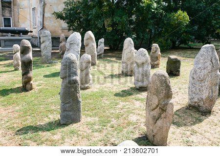 Scythian Anthropomorphic stone sculptures in Berdyansk Ukraine