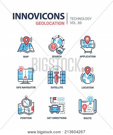 Geolocation - line design icons set with description. Map, search, application, gps navigator, satellite, location, position, get directions, route. Technology and geography concept