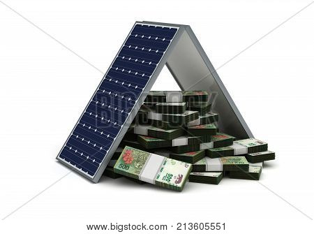 Energy Saving (Argentinian Pesos) (image isolated on white background) 3D Rendering