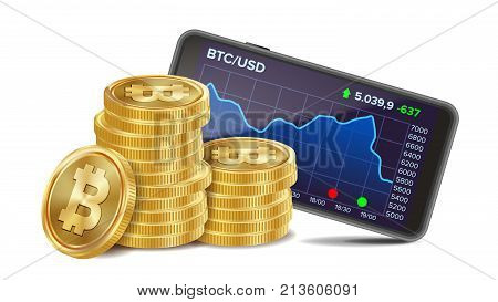 Smartphone And Bitcoin Coins Vector. Digital Money. Cryptocurrency Investment Concept. Realistic 3D Gold Coins. Isolated On White Illustration