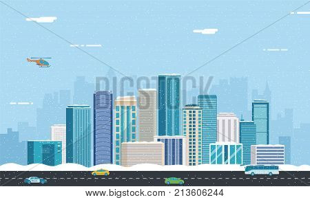 Snowy urban landscape. Winter City. Building architecture, cityscape town. City with snowflakes. Vector illustration