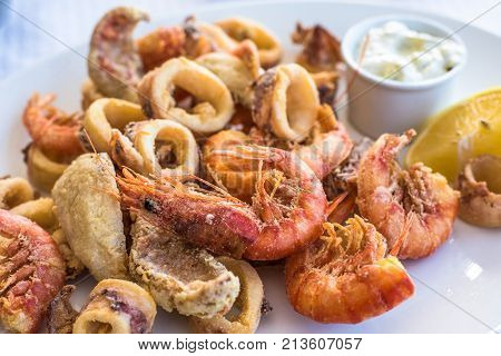 Mixed deep-fried fish shrimp and squid platter