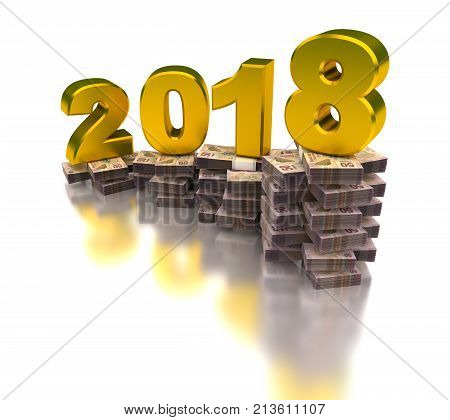 Growing Mexican Economy 2018 (image isolated on white background) 3D Rendering