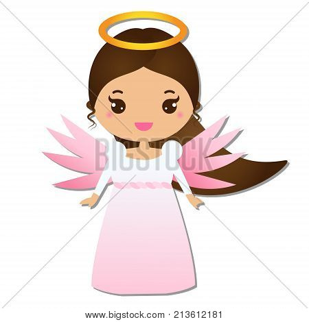 Cute angel. Kawaii style. Paper figure sticker. Design element for greeting cards communion christening Christmas and other