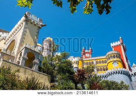 View from the bottom to Pena National Palace in Sintra. Portugal