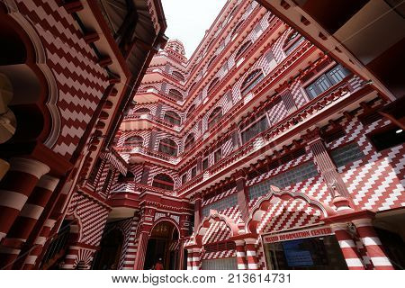 The red mosque of Colombo in Sri Lanka