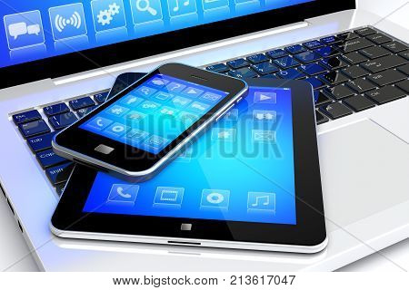 Laptop tablet pc computer and mobile smartphone gadget with a blue background and apps on a device screen. Isolated on a white. 3d image
