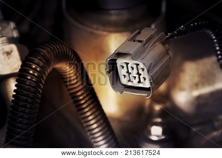 Electric socket wire connector of engine in a car. Automotive parts concept.