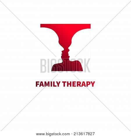 Logos family psychotherapy. Silhouettes of faces man and woman. Icon profiles of married couple. Therapy streaks. Vector illustration