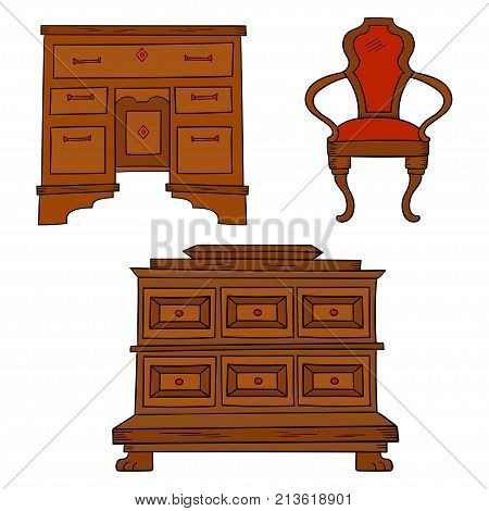 Antiqu furniture set: antique bureau, table, chair isolated on a white background. Vector drawing lines, sketch style
