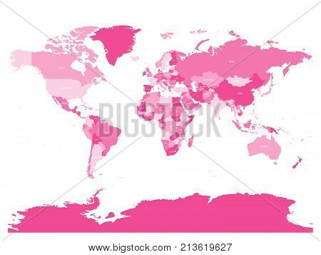 World map in four shades of pink on white background. High detail political map with country names. Vector illustration.