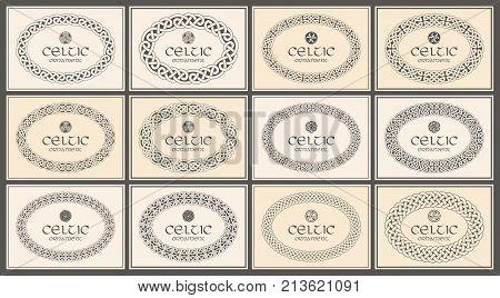 Celtic knot braided oval frame border ornament. A4 size. Vector illustration set.