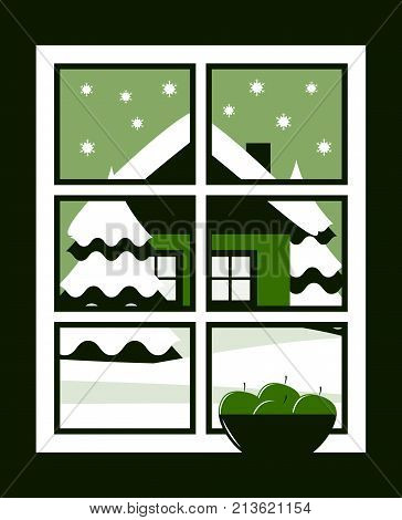 vector bowl of apples in the window and snowy landscape outside the window