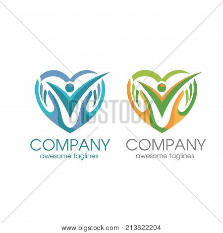 creative people care logo, human love and hand symbol logo template vector