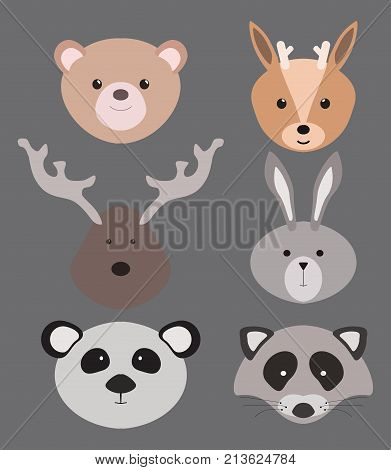 Set of cartoon animals. Illustration for children. Portraits of animals. Masks. Collection of stylized animals.