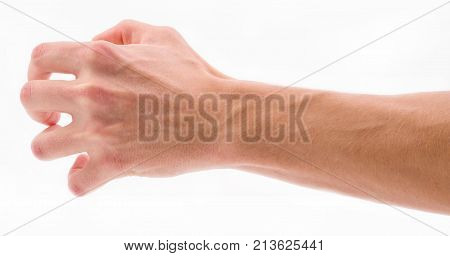 Bent fingers on phalanxes on palm on white isolated background
